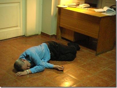 drunk hostel guard